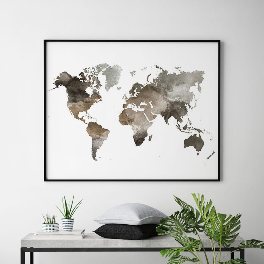 World map watercolor brown second
