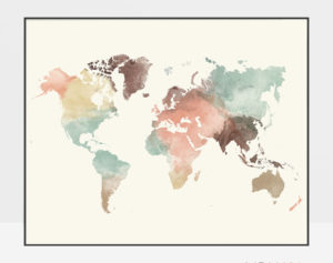 World map poster pastel