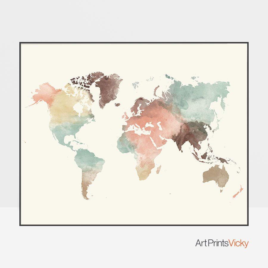 World map poster pastel