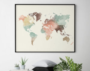 World map poster pastel second
