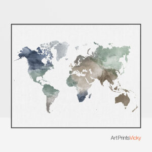 World Map Wall Art Muted Earth Tones