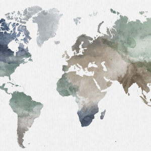 World map wall art poster muted earth tones detail
