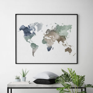 World map wall art poster muted earth tones second