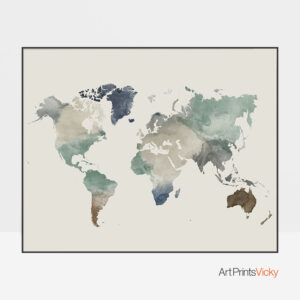 World map watercolor earth tones 1