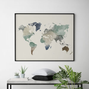 World map watercolor earth tones 1 second