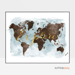 World map watercolor explore brown