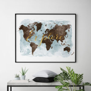 World map watercolor explore brown second