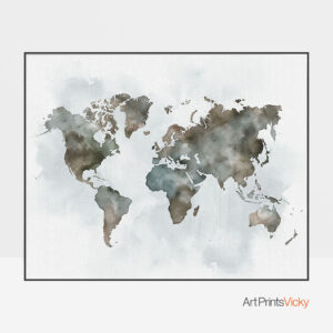 World Map Watercolor Green Brown Poster