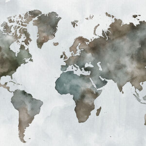 World map watercolor poster green brown detail