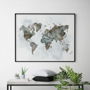 World map watercolor poster green brown second