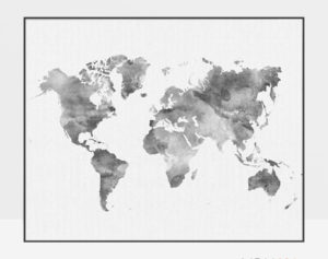 World map poster watercolor grey
