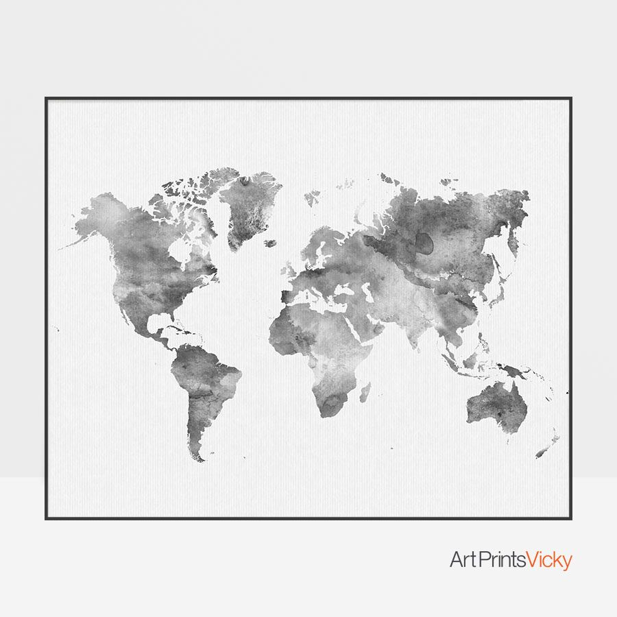 World Map Watercolor Grey Poster