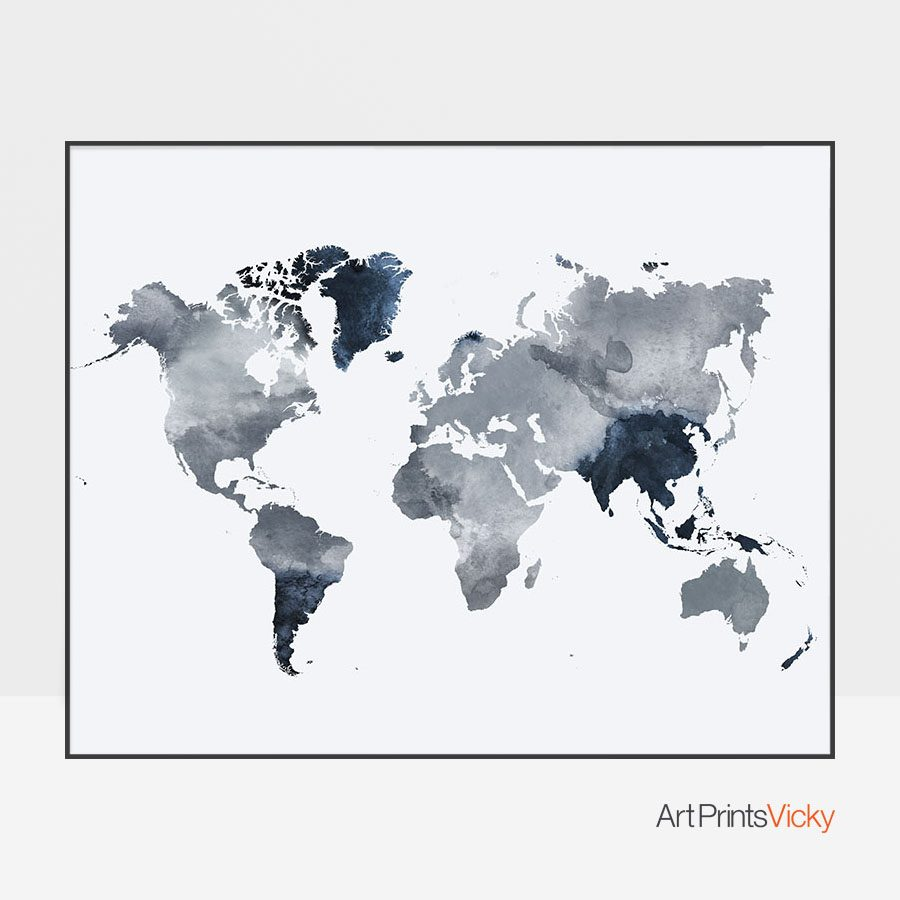 World map art watercolor grey blue