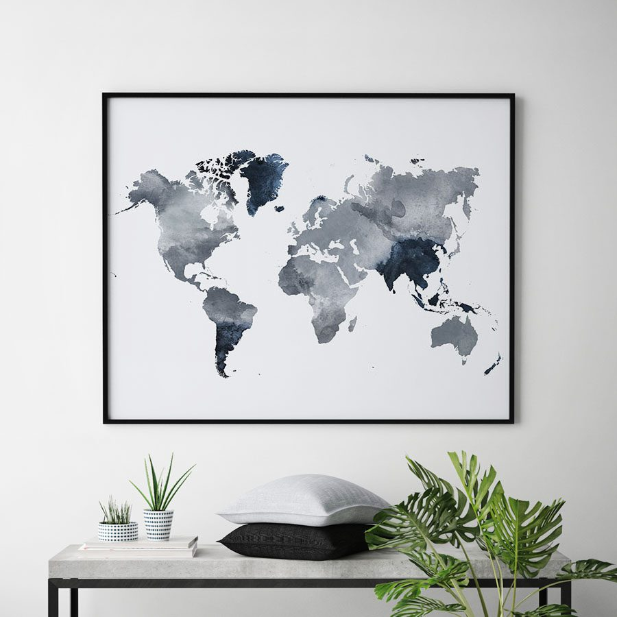 World map art watercolor grey blue second