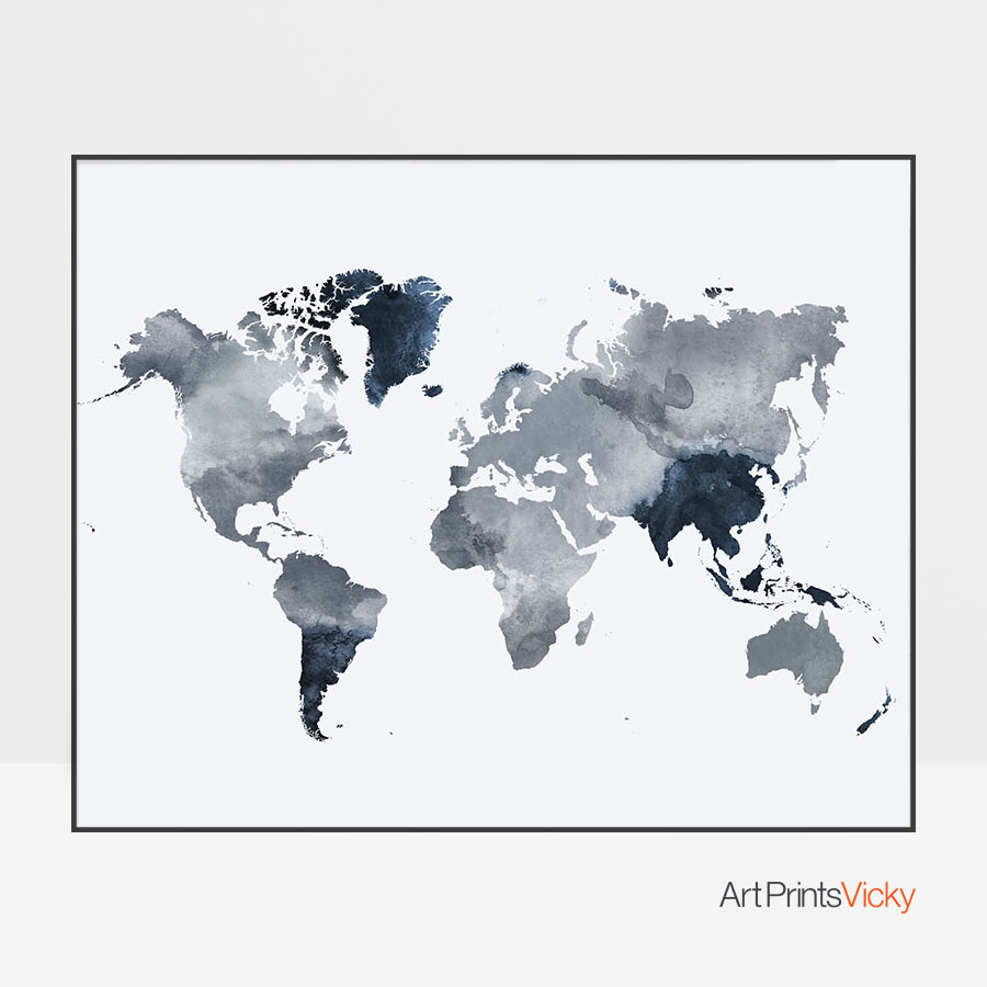 World map art watercolor grey blue artprintsvicky world map art watercolor grey blue gumiabroncs Images
