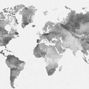 World map poster watercolor grey detail