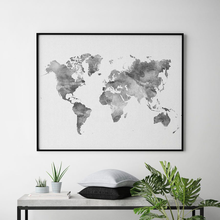 World map poster watercolor grey second