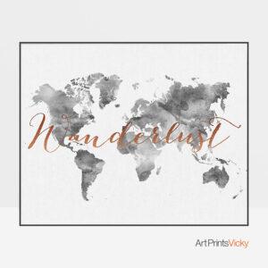 World map art grey wanderlust copper