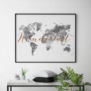 World map art grey wanderlust copper second