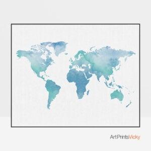 Watercolor world map art