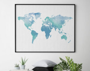 Watercolor world map art second