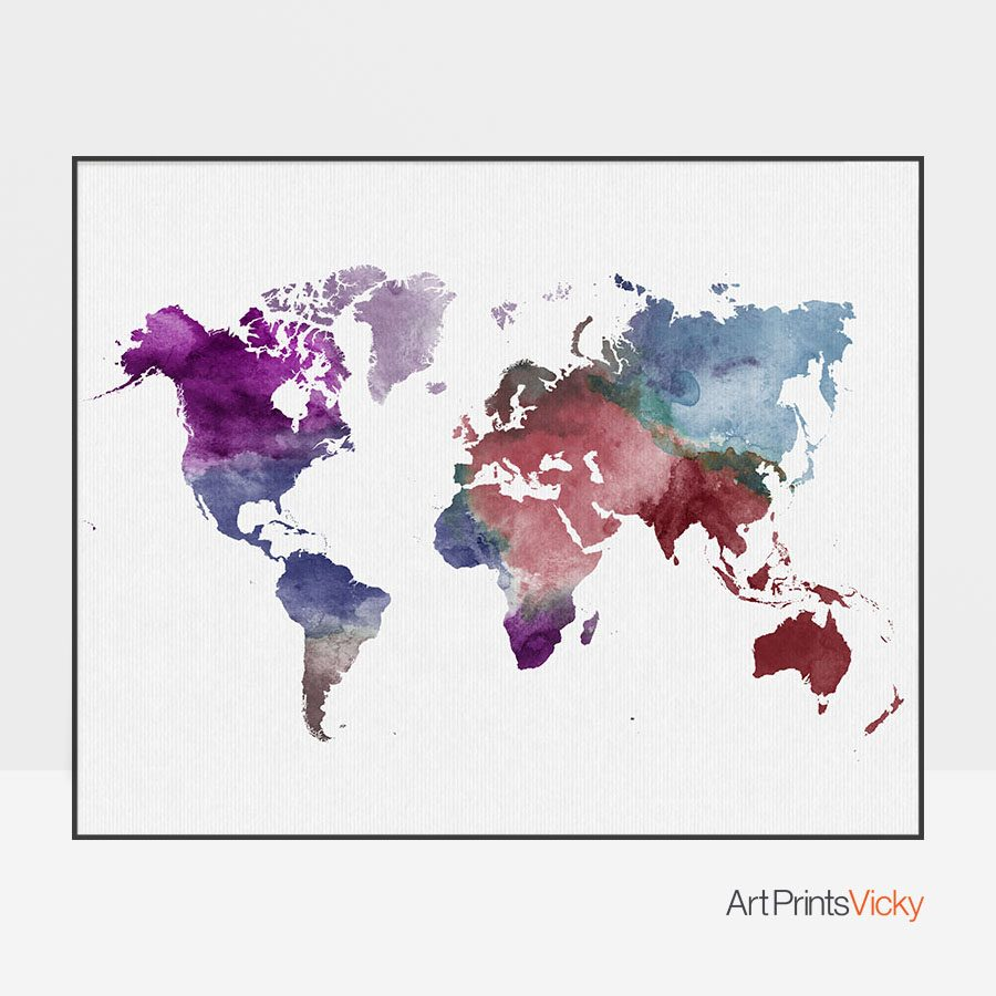 Colorful world map poster artprintsvicky colorful world map poster gumiabroncs Images