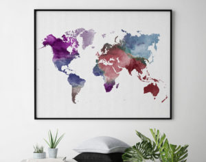 Colorful world map poster second