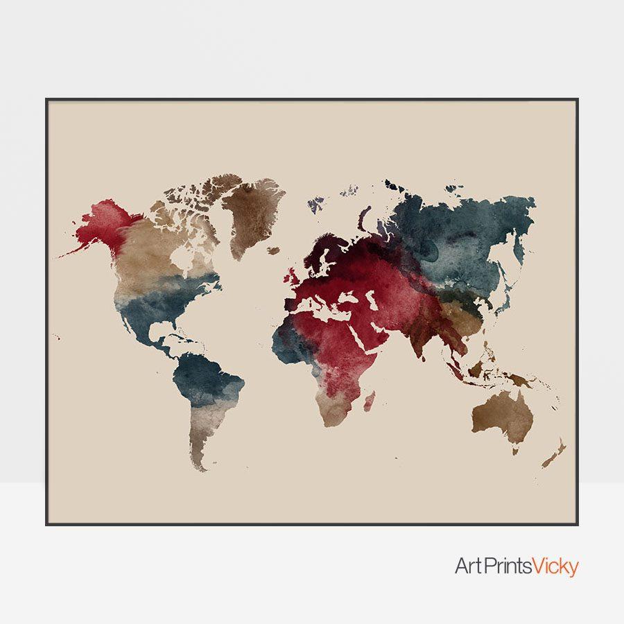 World map watercolor earth tones 2