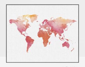 World map art print watercolor