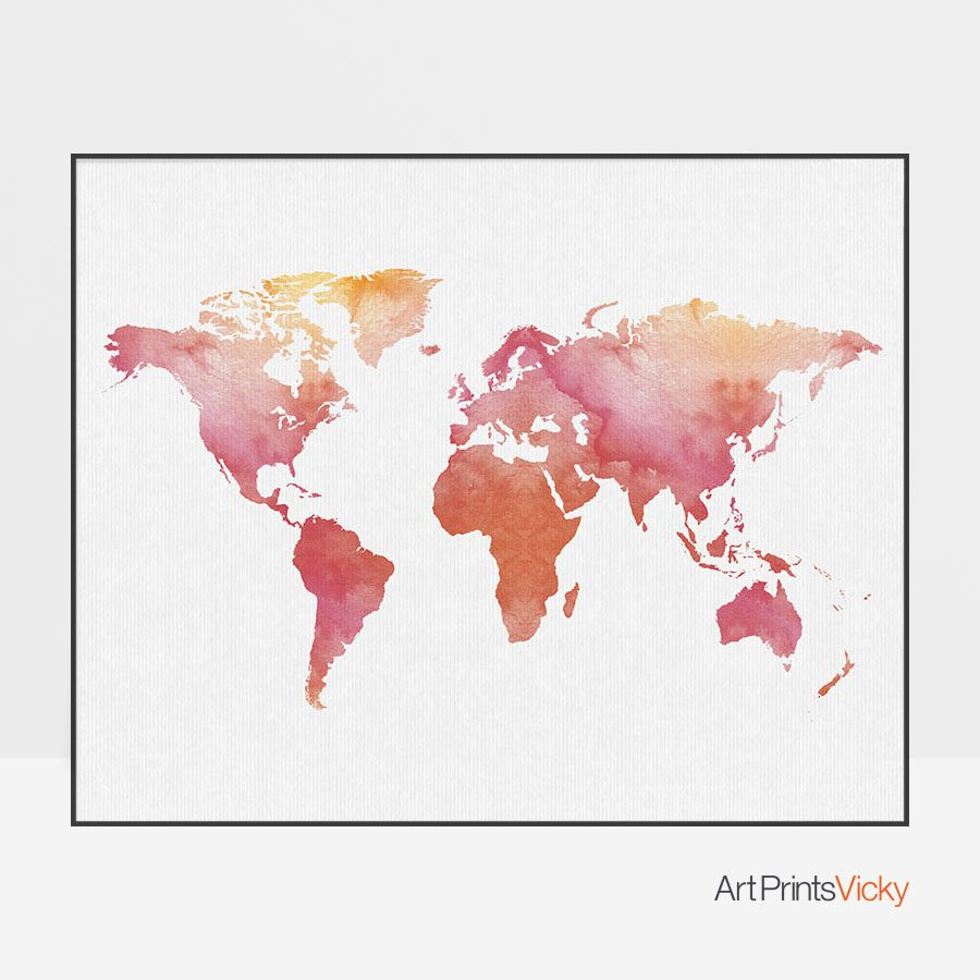 World map art print watercolor artprintsvicky world map art print watercolor gumiabroncs Images