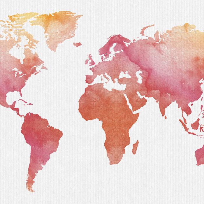 World map art print watercolor detail