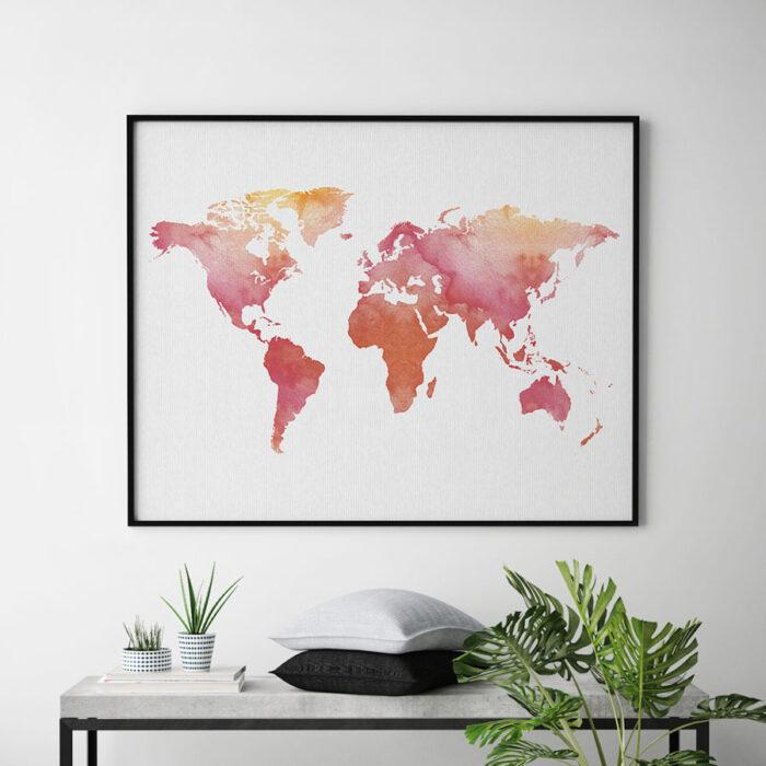 World map art print watercolor second