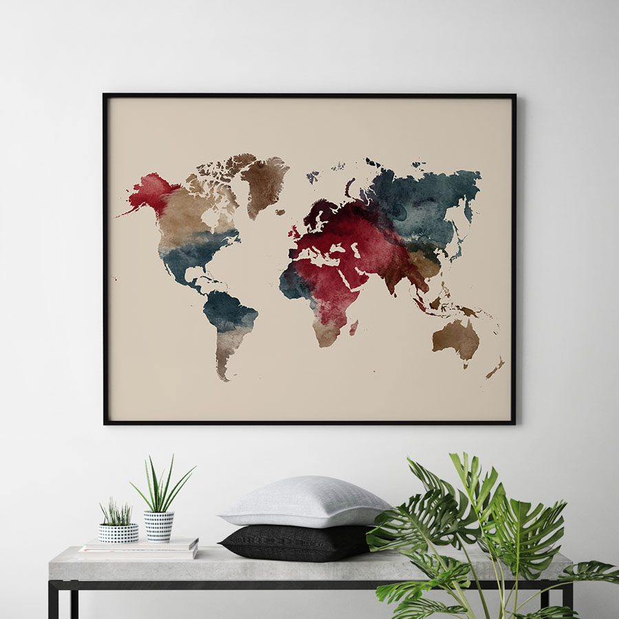 World map watercolor earth tones 2 second