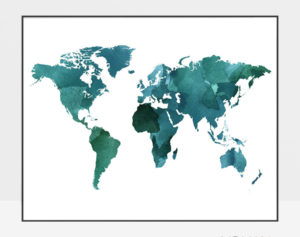 World map poster watercolor green teal