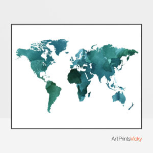 World Map Watercolor Green Teal Poster