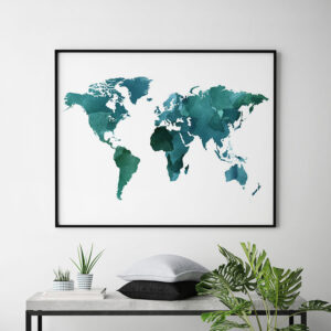 World map poster watercolor green teal second