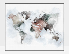 World map poster watercolor urban