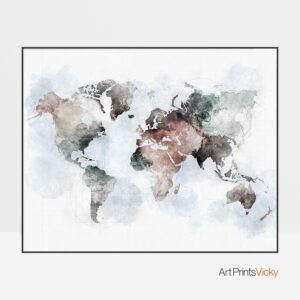 World map poster watercolor urban