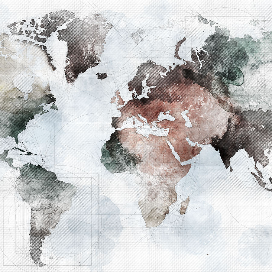 World map poster watercolor urban detail