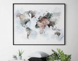World map poster watercolor urban second
