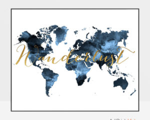 World map print wanderlust bluish