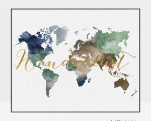 World map print wanderlust