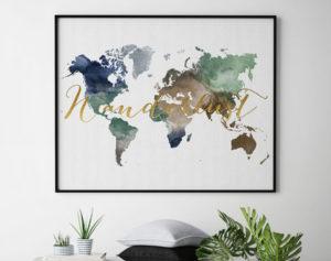 World map print wanderlust second