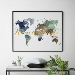 World map print wanderlust second