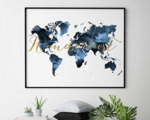 World map print wanderlust bluish second