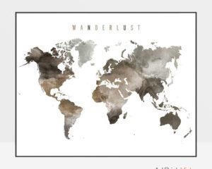 World map poster wanderlust brown