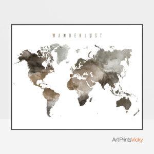 World Map Wanderlust Brown Poster