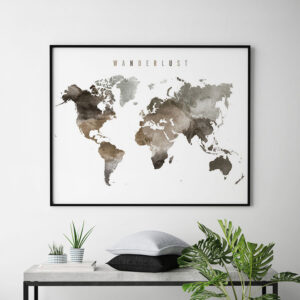 World map poster wanderlust brown second