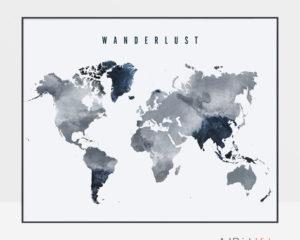 Wanderlust world map poster grey blue