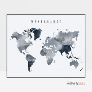 Wanderlust World Map Grey Blue Poster